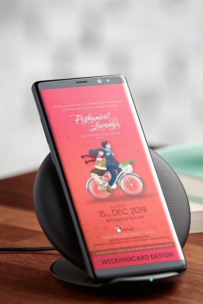 engagement e-invitation design in chennai, whatsapp invitation card