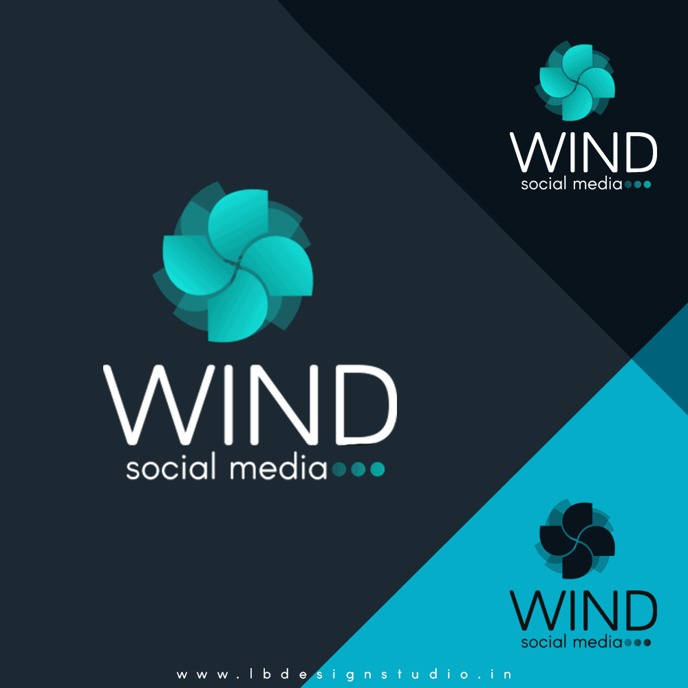 logo design coimbatore, logo design in coimbatore, wing logo design, social media logo design, blue logo design