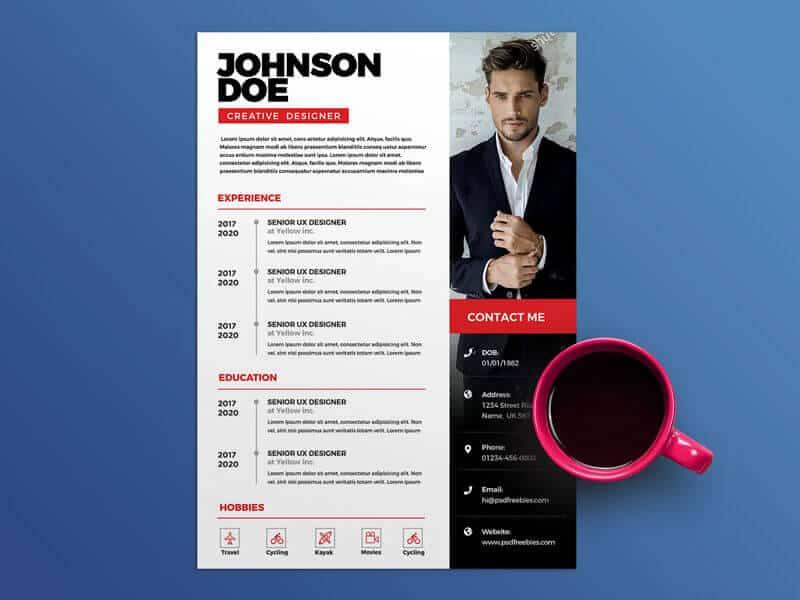 a graphic designer resume psd