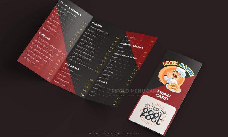 prata master brochure design, singapore brochure design printing, mouth restaurant menu, menu card design, restaurant menu card design